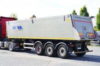 NOVA 36m3 , Aluminiowa , ładowność 28.800kg , 3 osie , krajowa , naczepa wywrotka , patelnia , wanna , Stan perfekt , szyber do zboża