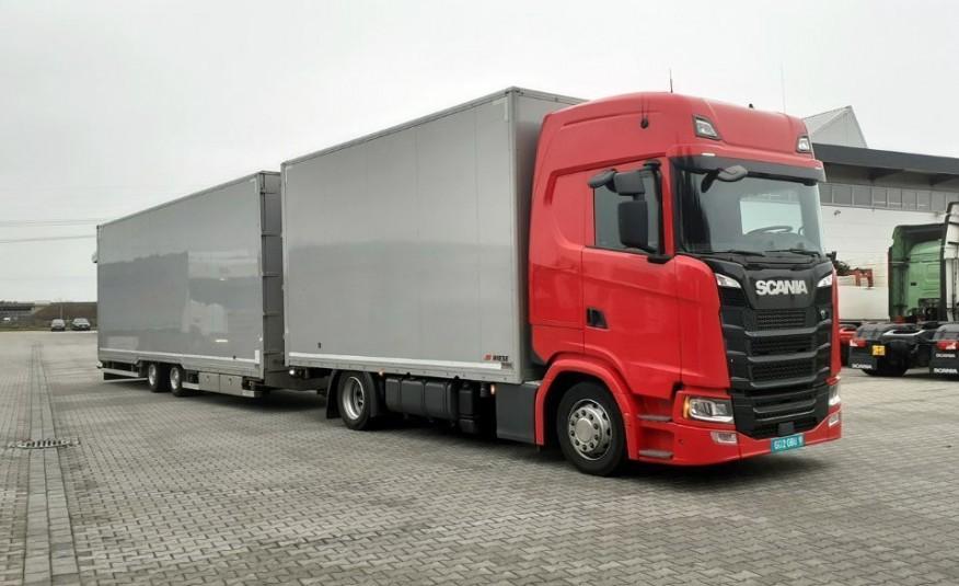 Scania S450 2017 zamknięta laweta na 6 aut WIESE 215Tkm zdjęcie 1
