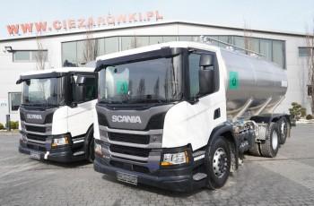Scania P410 , E6 , 6X2 , 20.000km , 2szt . zbiornik 18.000L , pompa , manual , oś skrętna / podnoszona , niska kabina , retarder , serwis SCANIA , mlekowóz , cyseterna spożywcza , do ml