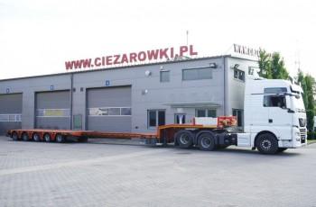 KASSBOHRER LB5E , DMC 81.000kg , 5 osi SAF , 2 osie skrętne , podnoszona , rozciągana poszerzana 15.4 x 3.15m , naczepa niskopodowziowa , niskopodowozie , transport maszyn , pojazdów