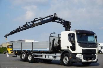 Volvo FE / 320 / E 6 / SKRZYNIOWY + HDS + WINDA / HIAB 144-E5 / WYSIĘG 15 M / OŚ SKRĘTNA